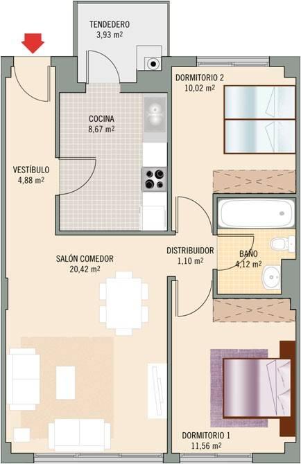 Piso de 2 dormitorios en venta y en alquiler en - Alquiler pisos villalbilla ...
